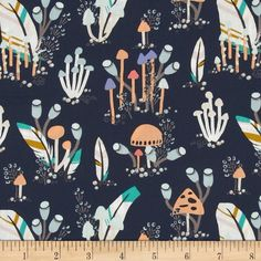 Designed by Sarah Watson for Art Gallery, cotton print is perfect for quilting, apparel and home decor accents. Art Gallery Fabric features 200 thread count of finely woven cotton. Colors include peach, aqua, mint, periwinkle and white on a navy background.