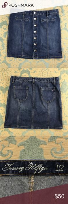 """Tommy Hilfiger Blue Jean Skirt 🦋 18"""" Inseam Tommy Hilfiger Blue Jean Skirt  Women's Size: 12  Gently used, material tag missing.  Measurements lying flat: Waist 18"""", Hips 21"""", Length 18"""".  Please, review pictures. You will get the item shown. Smoke & pet free home. Tommy Hilfiger Skirts Mini"""