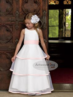 Sleeveless Tiered Organza A Line Flower Girl Dress with Belt- For more amazing finds and inspiration visit us at http://www.brides-book.com