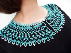 Items similar to Blue detachable collar necklace for Dress, elegant Neck Accessory, exquisite turquoise Jabot, Victorian lace Frill, tatting collar on Etsy Needle Tatting Patterns, Blue And White Shorts, Lace Weave, Tatting Tutorial, Types Of Lace, Neck Accessories, 3d Figures, Detachable Collar, Victorian Lace