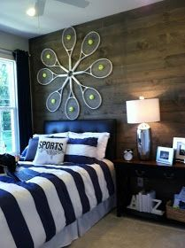 Awesome tennis racket art!! 'Love the colors and balance of this room