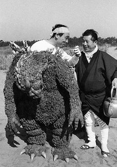 """""""Famous Japanese actor Haruo Nakajima relaxing between shooting in the Godzilla film. Haruo Nakajima considered to be the best suit actor"""" They destroy every single one of my dreams... Godzilla is not real..."""