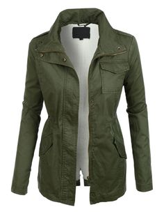 LE3NO Womens Sherpa Lined Long Sleeve Military Anorak Jacket