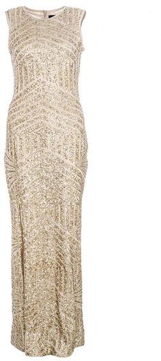 Quiz long gold dress