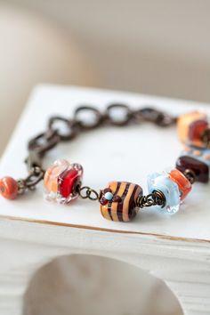Lampwork Bracelet Orange Brown Blue and Red by MeMadeJewels