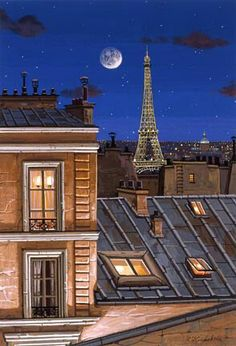 Liudmila Kondakova.  Eiffel Tower at Midnight t