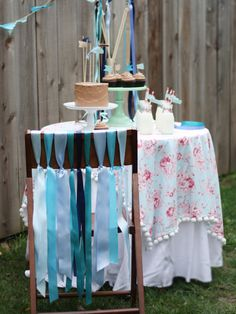 Advertisement  Rustic Ribbon Party    Centering birthday party decor on a theme makes a huge impact. For a soft, sweet look, adorn the dessert table with pastel-colored ribbons. Becca Gorski of Birthd