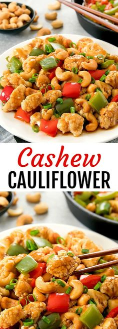Cashew Cauliflower. A healthier and easy version of Chinese Cashew Chicken. Ready in less than 30 minutes!