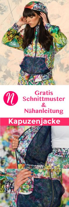 Kostenloses Schnittmuster für einen Kapuzenblouson zum selber nähen. PDF-Schnittmuster Gr. 36 - 46 ✂ Nähtalente.de - Magazin für kostenlose Schnittmuster ✂