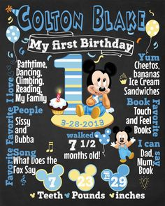 The First Birthday Chalkboard Poster Sign Printable-digital-babys first…