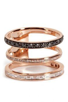 Nikos Koulis Nikos Koulis Ring aus 18kt Rotgold mit schwarzen und weißen Diamanten – Gold