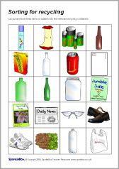 Sorting for Recycling Set - SparkleBox Recycling Games, Recycling Activities For Kids, Recycling For Kids, Recycling Containers, Sorting Games, Sorting Activities, Montessori Activities, French Flashcards, Earth Day Activities