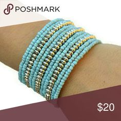 Blue Silver Layered Memory Wire Cuff Bracelet This beautiful layered bracelet will be the perfect accessory either for work or casual date, don't you think so? Its design makes it really comfortable to wear and it will adapt to your wrist size. You'll love it!  Dimensions: 2.5 in x 1.5 in Jewelry Bracelets