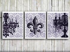 maybe for Grace's bathroom  French fleur de lis Decorative art Distressed damask Art print Black Chandelier Wall hanging Amethyst Purple Wall decor For her. $27.00, via Etsy.