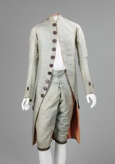 Our first piece is a French silk men's suit from between 1765 and 1775.