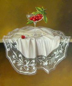 Realismo del bodegón artístico  Oleo sobre lienzo  Frutas realistas y coloridas de la serie bodegones exóticos  con mantel blanco tejido
