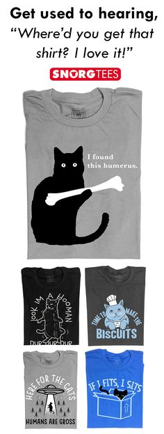 Funny t-shirts, hoodies and tank tops updated with new designs every week. Shop our huge collection of awesome, cool, and hilarious pop culture, nerd humor and overall funny designs today. I Love Cats, Cute Cats, Funny Cats, Funny Animals, Cute Animals, Crazy Cat Lady, Crazy Cats, Just In Case, Just For You