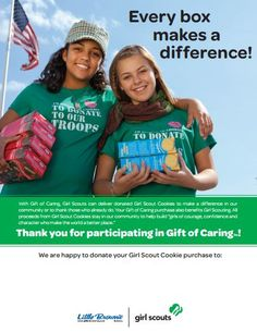 Gift of Caring Poster for Girl Scout Cookie Booths Girl Scout Cookies, Girl Scouts, How To Make, Gift, Poster, Grief, Girl Guides, Brownie Girl Scouts, Mini Cookies
