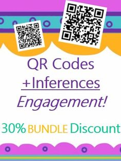 Engage students with QR codes!  These BUNDLED making inferences activities are self-checking with QR Codes and link to engaging labeled photos of each correct inference. SALE Bundle includes inferencing activities about camping, health, and prairie animals!