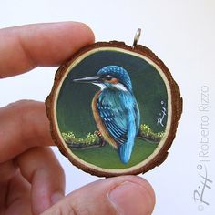 Collier Art avec un Martin-pêcheur par RobertoRizzoArt sur Etsy