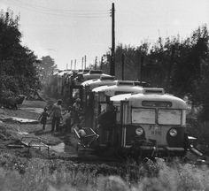 Old buses used for housing migrant farm workers in Upstate New York, 1959. By Michael Rougier