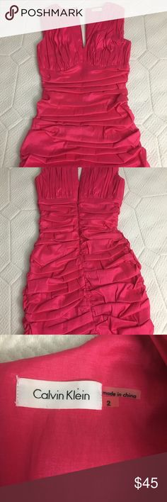 Calvin Klein Pink Ruffle Dress size 2 Calvin Klein Pink Ruffle Tiered Dress size 2. Worn a couple times for party. Calvin Klein Dresses Mini