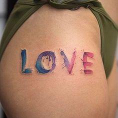 LOVE Watercolor Tattoo    @bangbangnyc @georgiagreytattoos    #instagram #portfolio #black #ink #inked #tattooartist #art #realistic  #tattoo #tattoos #love #bangbangtattoo #newyork #nyc #bangbangnyc #bangbangforever #georgiagreytattoos #georgiagrey #drawing #tattooart #pretty #color #colorful #painting #paint #watercolors #love #word #letters #font #palette #thigh #leg