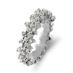 Round Cubic Zirconia Engagement Flower Half Band Sterling Silver NEW Ring SZ7