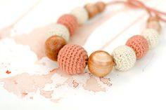Nursing necklace for mommy - 100% certified organic cotton - boho chic crochet necklace - light brown and cream beige on Etsy, $26.00
