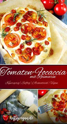 Aromatisch-fruchtiges Focaccia mit Tomaten, Knoblauch und Rosmarin. Der perfekte Snack, eine tolle Vorspeise als Fingerfood oder herzhaftes Frühstück. Unbedingt probieren! #VeganeRezepte #VeganGenießen #Focaccia #Fingerfood #Snacks #Italienisch #Pizza Pizza, Quiches, Pepperoni, Food And Drink, Inspiration, Vegan Appetizers, Vegan Snacks, Finger Food, Vegan Main Dishes