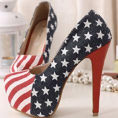 The pumps featuring round toe, platform, high stiletto heels, American flag…