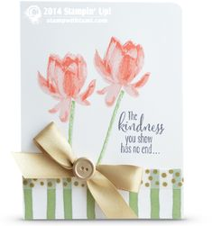 Today's gorgeous card offers a sneak peek at both the new Stampin Up Occasions AND Sale-a-bration catalogs combined…bonus! The flowers and words are from the new SAB Lotus Blossom stamp set, and the designer paper is the Painted Petals DSP in the Occasions catalog.