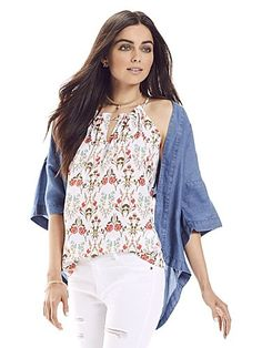 Shop Ruffle-Trim Keyhole Halter Blouse - Floral . Find your perfect size online at the best price at New York