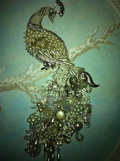 White peacock…… vintage broken jewelry