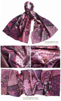 @FilkinaScarves Hand Painted Silk Scarf Dark Magenta Floral ornaments Burgundy satin Unique Elegant Women gift for her Silk Painting Long Christmas FS