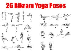 Free Printable Chart - 26 Pose of Bikram Yoga | Bikram Yoga Poses