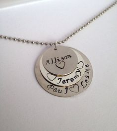 Three handstamped Stacked Pendants necklace- hand stamped necklace -Valentine's day - Valentine's gifts - Mother's Day gift - Baby shower gift - Birthday gift - Bridesmaids gift - Birthday - Add on Birthstone or Pearl Pendants Available - Personalized Handstamped Jewelry - Grandmother - Mother - Mommy Necklace - Handstamped Jewelry for Mom - Family Necklace - Lucky Charm - Anniversary Necklace - Couples Necklace - - Wedding Gift - Bride's Gift - Friendship - Bffs - Best Friends Gift- Custom…