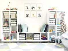 Image courtesy of Pinterest (click here to browse the IKEA Kallax collection).  See below for bin options.