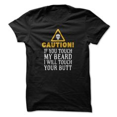 [New last name t shirt] Caution Dont touch my BEARD Teeshirt Online Hoodies, Funny Tee Shirts