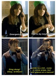 This bit troubled me. Not because the Doctor was so happy and keen to be a boyfriend, but the idea of him being willing to even glance at a manual of any description struck me as so out of character for him.