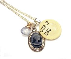 Dewey Decimal Cameo Moonstone Necklace  Opera by writtennerd, $45.00