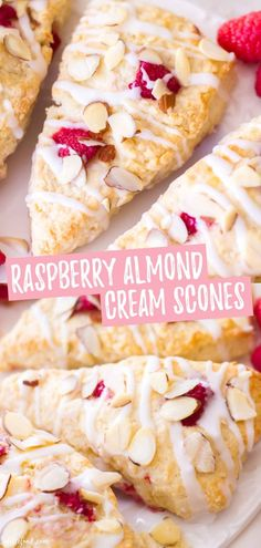These homemade raspberry almond cream scones are rich, flaky, and full of sweet, fresh raspberries. Plus, these raspberry scones begin with. Almond Cream, Sour Cream, Homemade Scones, Homemade Breads, Cream Scones, Mini Scones, Donuts, Afternoon Snacks, Breakfast