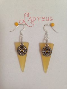 Yellow frosted glass earrings by CharmingLadybug on Etsy