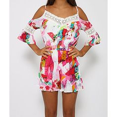 Stylish Spaghetti Strap 3/4 Sleeve Printed Hollow Out Women's Romper