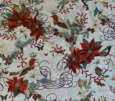 Cotton Fabric, Quilt, Home Decor, Craft Fabric, Christmas, Merry Birds by Hoffman of CA, Fast Shipping