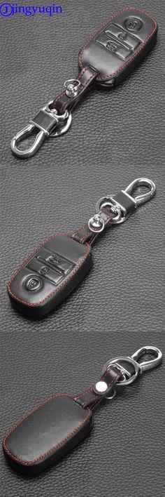 jingyuqin 3 Buttons Remote Leather Car-Styling Car Key Cover Case For Kia Rio Sorento Cerato K3 Forte Rio5 Optima Smart Key