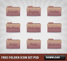 Nice Free Folder Icon Set PSD. Download Free Folder Icon Set PSD. In this free icon set, you will find 9 folder icons in 2 sizes (256px and 512px) and in PNG format. Also, you will find an editable Photoshop PSD file for making your own icons.  #downloadfreepsd #downloadpsd #Folder #FolderIcon #FreeIcon #FreeIcons #FreePSD #Icon #IconPSD #IconSet #LayeredPSDs #PSD #psddownload #PSDfile #psdfree #psdfreedownload #PSDimages #psdresources #PSDSet #PSDSources #PsdTemplates