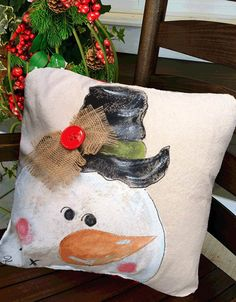 Whimsical Hand-painted Snowman Pillow Cover by SippingIcedTea Burlap Bows, Burlap Pillows, Throw Pillows, Christmas Paintings, Christmas Art, Christmas Ornaments, Christmas Holiday, Fabric Painting, Holiday Crafts