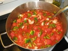 Tanya's salsa (from her blog!) 4 1/2 lbs = about 32 roma tomatoes (18 C)