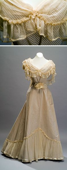 Evening dress, ca. late 19th century. Silk satin, silk chiffon applications, & lace.